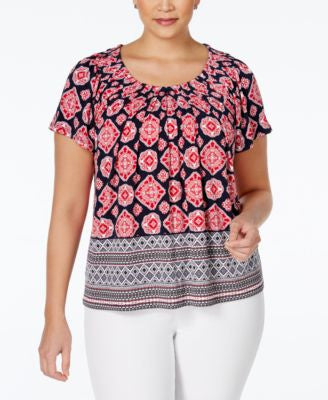 Style & Co. Short-Sleeve Printed Blouse, Only at Vogily
