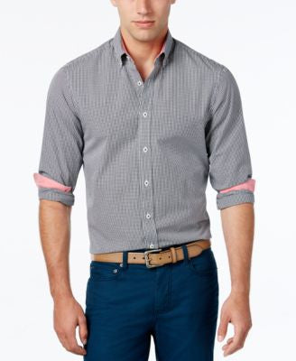 Weatherproof Men's Mini-Gingham Long-Sleeve Shirt, Contrast Cuffs