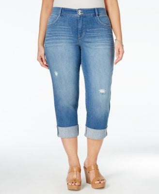 Style & Co. Plus Size Distressed Cuffed Saint Wash Capri Jeans, Only at Vogily