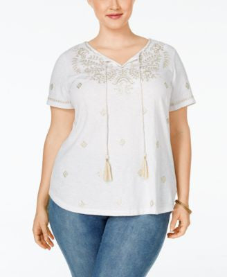 Charter Club Plus Size Embroidered Peasant Top, Only at Vogily