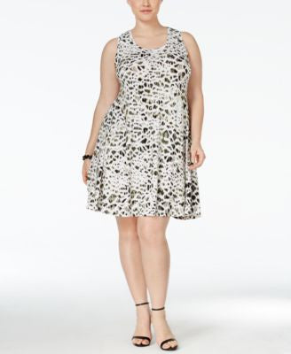 Style & Co. Plus Size Printed Sleeveless Swing Dress, Only at Vogily