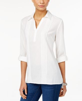 Style & Co. Pleated Collared Shirt, Only at Vogily