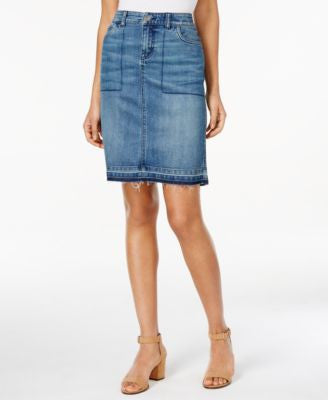 Style & Co. Released-Hem Denim Pencil Skirt, Only at Vogily