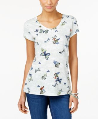 Style & Co. Butterfly-Print T-Shirt, Only at Vogily