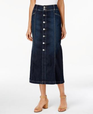 Style & Co. Petite Button-Front Denim Midi Skirt, Only at Vogily