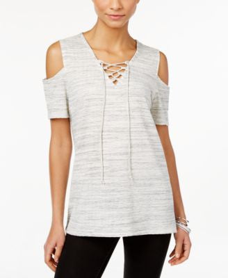Style & Co. Cold-Shoulder V-Neck Lace-Up Top, Only at Vogily