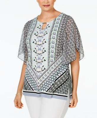 JM Collection Plus Size Printed Keyhole Blouse, Only at Vogily