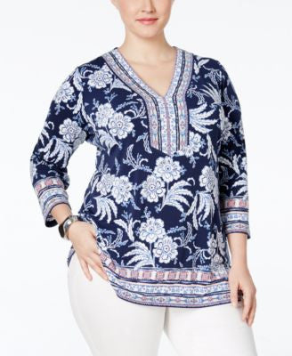JM Collection Plus Size Printed Tunic, Only at Vogily