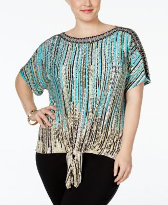 JM Collection Plus Size Embellished Tie-Front Blouse, Only at Vogily