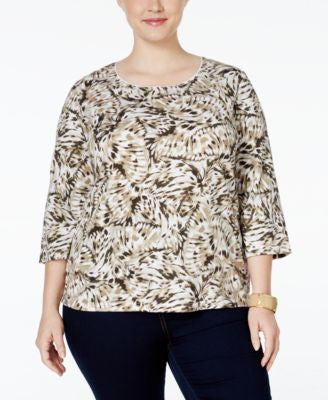 Karen Scott Plus Size Printed Top, Only at Vogily