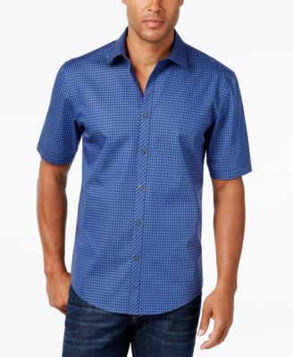 Alfani Men's Big and Tall Short-Sleeve Gingham Shirt