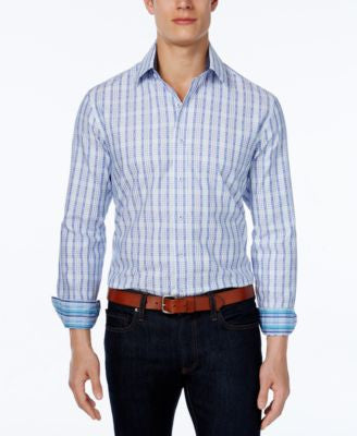 Tasso Elba Men's Grid Long-Sleeve Shirt, Classic Fit