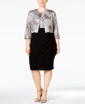MSK Plus Size Embellished Jacket & Sheath Dress
