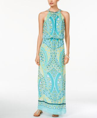 MSK Printed Blouson Maxi Dress