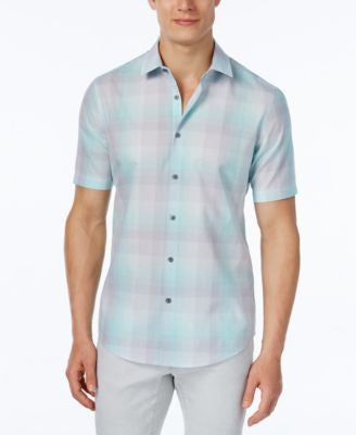 Alfani Men's Slim Fit Plaid Short-Sleeve Shirt, Only at Vogily