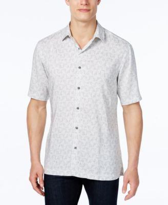 Alfani Men's Big and Tall Print Short-Sleeve Shirt, Classic Fit