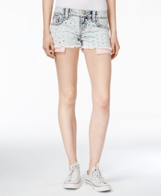 Miss Me Embroidered Acid Wash Cutoff Shorts