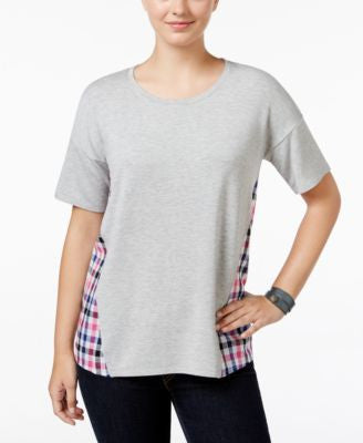 G.H. Bass & Co. Mixed-Media Scoop-Neck Top