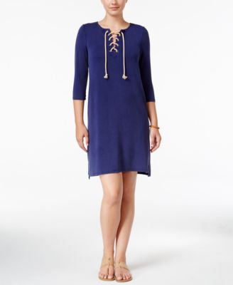 G.H. Bass & Co. Three-Quarter-Sleeve Lace-Up Dress