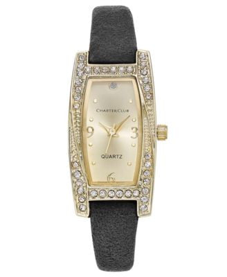 Charter Club Women's Gold-Tone Black Suede Watch 19mm, Only at Vogily