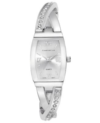 Charter Club Women's Silver-Tone Twisted Pavé Bangle Bracelet Watch 20mm, Only at Vogily