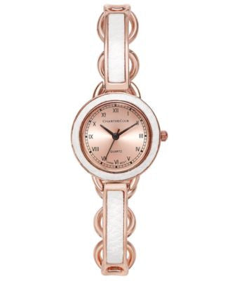 Charter Club Women's Rose Gold-Tone White Inset Bangle Bracelet Watch 28mm, Only at Vogily