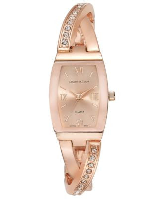 Charter Club Women's Rose Gold-Tone Twisted Pavé Bangle Bracelet Watch 20mm, Only at Vogily