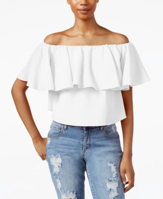 RACHEL Rachel Roy Off-The-Shoulder Flutter-Sleeve Crop Top