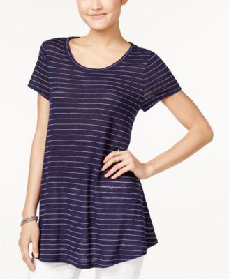 Maison Jules Metallic-Striped Swing T-Shirt, Only at Vogily