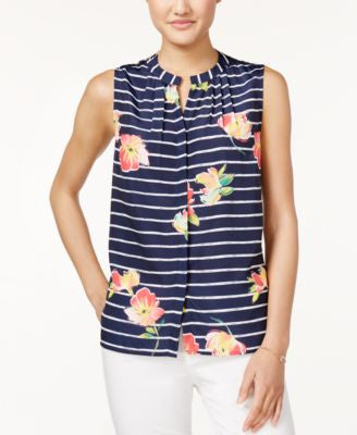 Maison Jules Striped Floral-Print Top, Only at Vogily