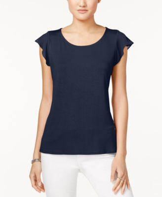 Maison Jules Scoop-Neck Flutter-Sleeve Top, Only at Vogily
