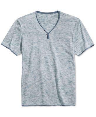 INC International Concepts Men's Le Grecko Heathered Y-Neck T-Shirt, Only at Vogily
