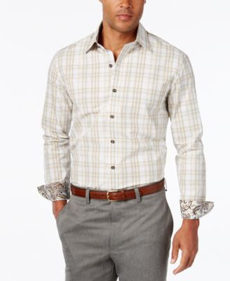 Tasso Elba Men's Big & Tall Dobby Check Long-Sleeve Shirt, Only at Vogily