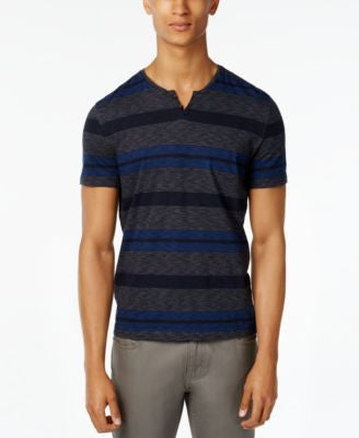 Kenneth Cole Reaction Men's Feeder Striped Split-Neck T-Shirt