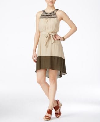 BCX Juniors' Embellished Contrast High-Low Dress with Sash