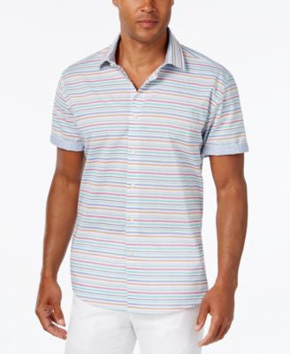 Tallia Men's Horizontal Striped Short-Sleeve Shirt