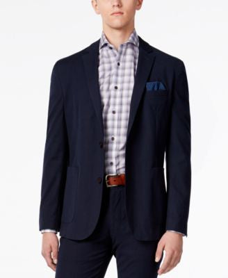 Vince Camuto Men's Navy Seersucker Stripe Slim-Fit Stretch Cotton Blazer