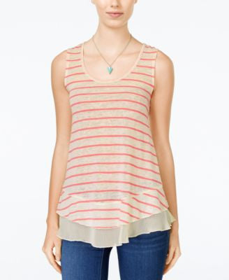 American Rag Chiffon-Hem Striped Tank Top, Only at Vogily