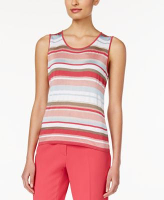 Anne Klein Striped Sleeveless Knit Top