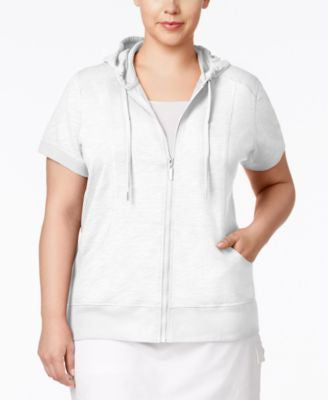 Style & Co. Plus Size Short-Sleeve Hoodie, Only at Vogily
