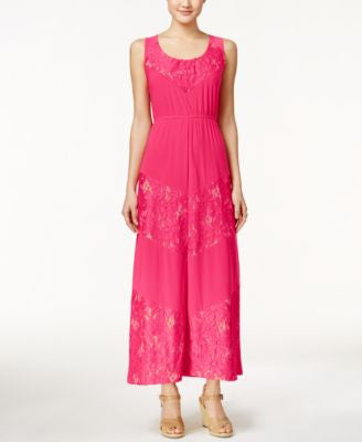 NY Collection Solid Lace-Detail Maxi Dress