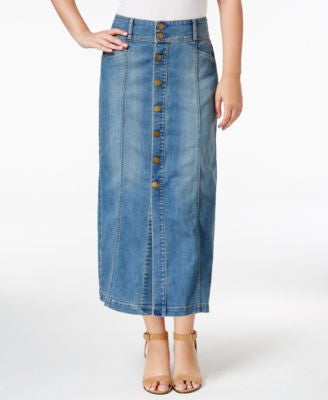 Style & Co Button-Front Long Denim Skirt, Only at Vogily