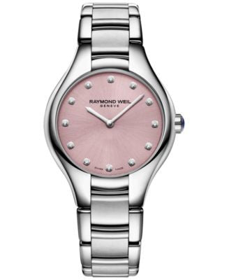 RAYMOND WEIL Women's Swiss Noemia Diamond Accent Stainless Steel Bracelet Watch 32mm 5132-ST-80081