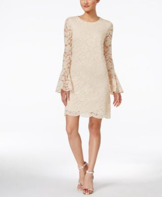Betsey Johnson Lace Bell-Sleeve Sheath Dress