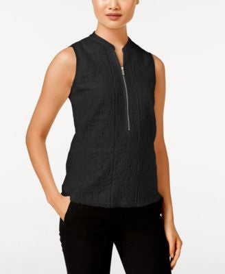 Calvin Klein Zip-Front Mixed-Media Top