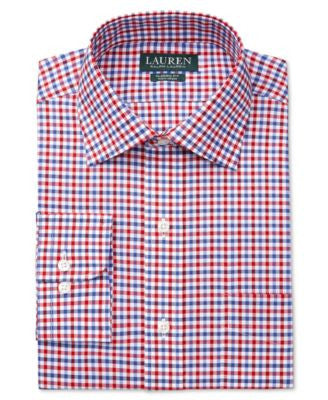 Lauren Ralph Lauren Men's Classic-Fit Non-Iron Red and Blue Multi-Check Dress Shirt