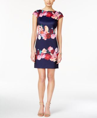 Vince Camuto Floral Striped Cap-Sleeve Shift Dress