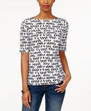 Charter Club Printed Elbow-Sleeve Top, Only at Vogily