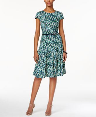 Jessica Howard Geo-Print Belted A-Line Dress