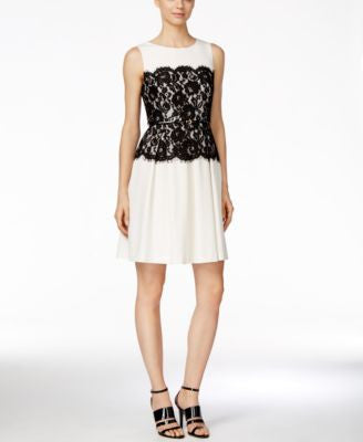Calvin Klein Belted Lace Fit & Flare Dress